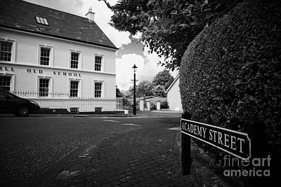 Academy Street Sign And Old Schoolhouse 18th Century Gracehill Village Print by Joe Fox