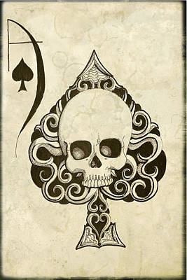 Skull Cards Mixed Media - Ace by Shayne of the  Dead