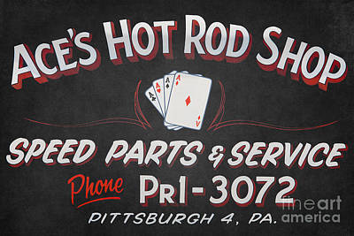 Ace's Hot Rod Shop Print by Clarence Holmes