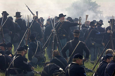 Historical Reenactments Photograph - Actors Dressed As Union Soldiers by Pete Ryan