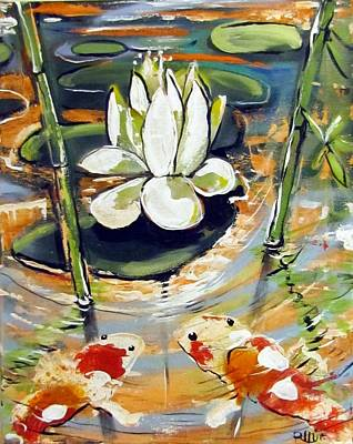Koi Mixed Media - Admiring A Lotus by Robert Wolverton Jr