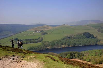 Adult Walkers In The Upper Derwent Valley, Overlooking Ladybower Reservoir, Peak District National Park, Derbyshire, England, Uk, Print by Dave Porter Peterborough Uk