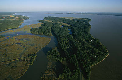 Aerial View Of The James River Print by Ira Block