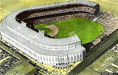 Yankee Stadium Painting - Aerial View Of Yankee Stadium In The 1950's by Dwight Goss