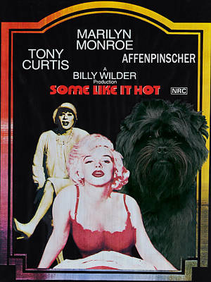 Affenpinscher Painting - Affenpinscher Some Like It Hot Movie Poster by Sandra Sij