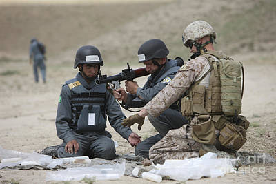 Afghan Police Students Assemble A Rpg-7 Print by Terry Moore