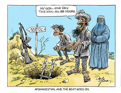 Afghanistan Drawing - Afghani And Son by David Lloyd Glover