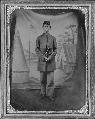 African American Soldier Posed In Front Print by Everett