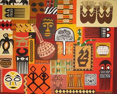 Grid Painting - African Arts And Crafts by Pat Barker