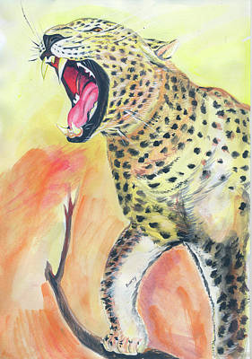 African Big Cats Drawing - African Leopard by Emmanuel Baliyanga