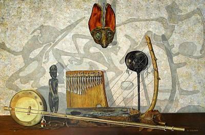Shadow Dancing Painting - African Musical Instruments by Ben Saturen