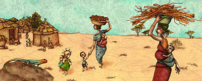 African Huts Painting - Africans by Autogiro Illustration
