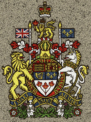 Canadiens Digital Art - Aged And Cracked Canada Coat Of Arms by David G Paul