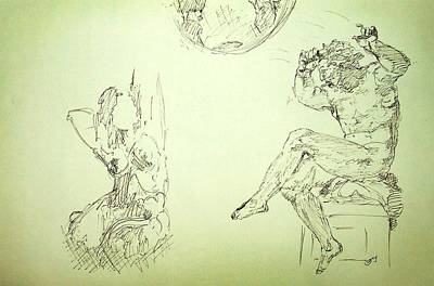 Vatican Museums Drawing - Agony And Atlas Sketch Of Him Throwing The World Onto Her As He Transforms Life Burden To Freedom by MendyZ M Zimmerman