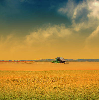 Machinery Photograph - Agricultural Landscape At Sunrise by Photo by Jim Norris