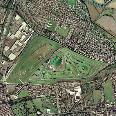 Steeplechase Race Photograph - Aintree Horse Racing Track, Aerial Image by Getmapping Plc