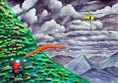 Rescue Painting - Air Ambulance Mountain Rescue by Ronald Haber