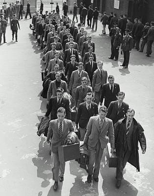 Airforce Cadets Walking In Rows (b&w) Print by Hulton Archive