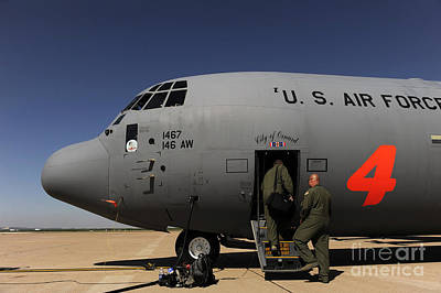 Airmen Board A C-130j Hercules At Dyess Print by Stocktrek Images