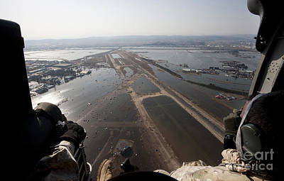 Japan Relief Photograph - Airmen Fly Over The Sendai Airport by Stocktrek Images