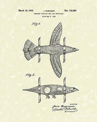 Airplane Bird Body Design 1943 Patent Art Print by Prior Art Design