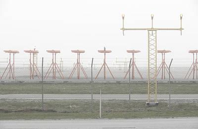 Airport Runway In Fog Print by Sindre Ellingsen