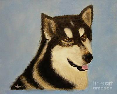 Arctic Dog Painting - Alaskan Malamute by Monika Shepherdson