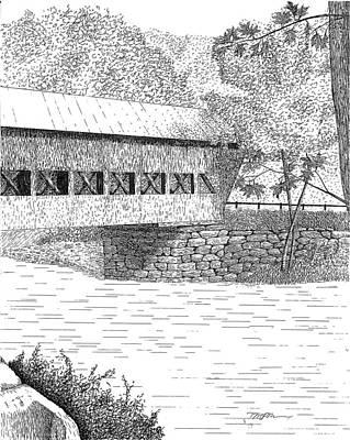 Covered Bridge Drawing - Albany Bridge by Tim Murray