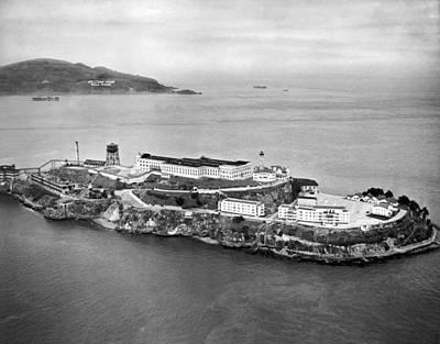 Alcatraz Island And Prison Print by Underwood Archives
