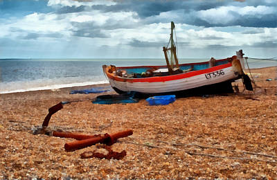 Aldeburgh Fishing Boat Print by Bel Menpes