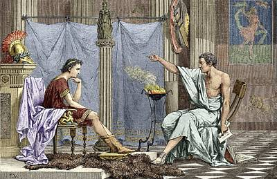 Alexander Of Macedon And Aristotle Print by Sheila Terry