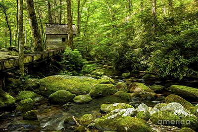 Alfred Reagan's Old Mill Print by Smokey Mountain  Art