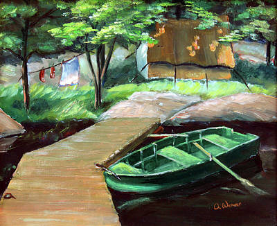 Docks And Boat Painting - Algonquin Fishing Camp by Hanne Lore Koehler