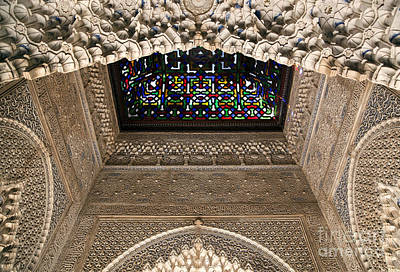 Vaults Photograph - Alhambra Stained Glass Detail by Jane Rix
