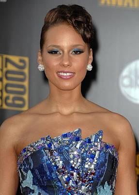 Alicia Keys Wearing An Armani Dress Print by Everett
