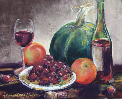 Wine And Grapes Print by Marie-Claire Dole