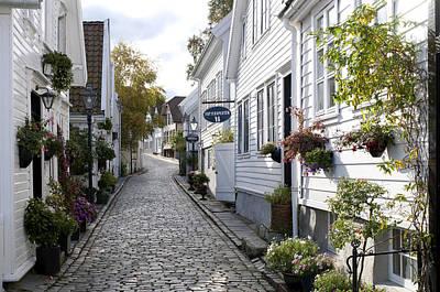 Alley In Old Stavanger, gamle Stavanger Print by Olivier Anger
