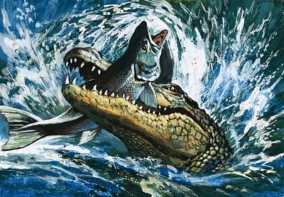 Alligator Painting - Alligator Eating Fish by English School