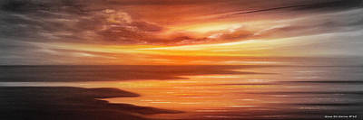 Along The Way - Panoramic Sunset Print by Gina De Gorna
