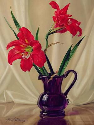 In Bloom Painting - Amaryllis Lillies In A Dark Glass Jug by Albert Williams