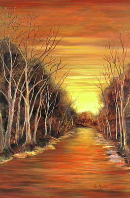 Amber River Print by Vic  Mastis