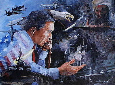 George Bush Painting - American Chaos by Leslie Hoops-Wallace