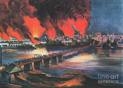 American Civil War Fall Of Richmond Print by Photo Researchers