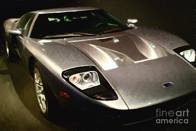 American Ford Gt - Painterly - 7d17252 Print by Wingsdomain Art and Photography