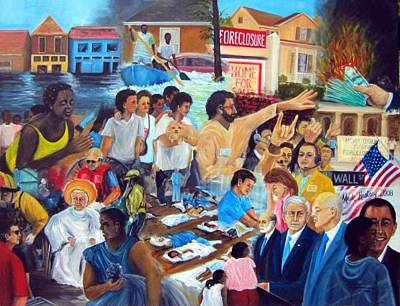 George Bush Painting - American History Katrina Financial Meltdown by Leonardo Ruggieri