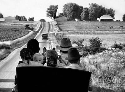 Julie Dant Black And White Photograph - Amish Family Outing by Julie Dant