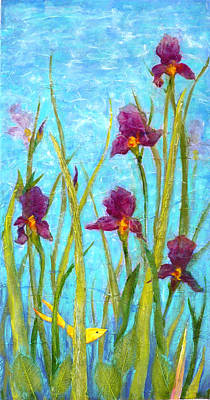 Decoupage Painting - Among The Wild Irises by Carla Parris