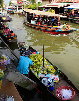Tourist Attraction Digital Art - Ampawa Floating Market by Adrian Evans