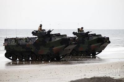 Amphibious Assault Vehicles Land Ashore Print by Stocktrek Images
