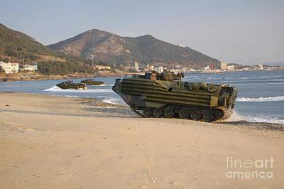 Amphibious Assault Vehicles Push Print by Stocktrek Images